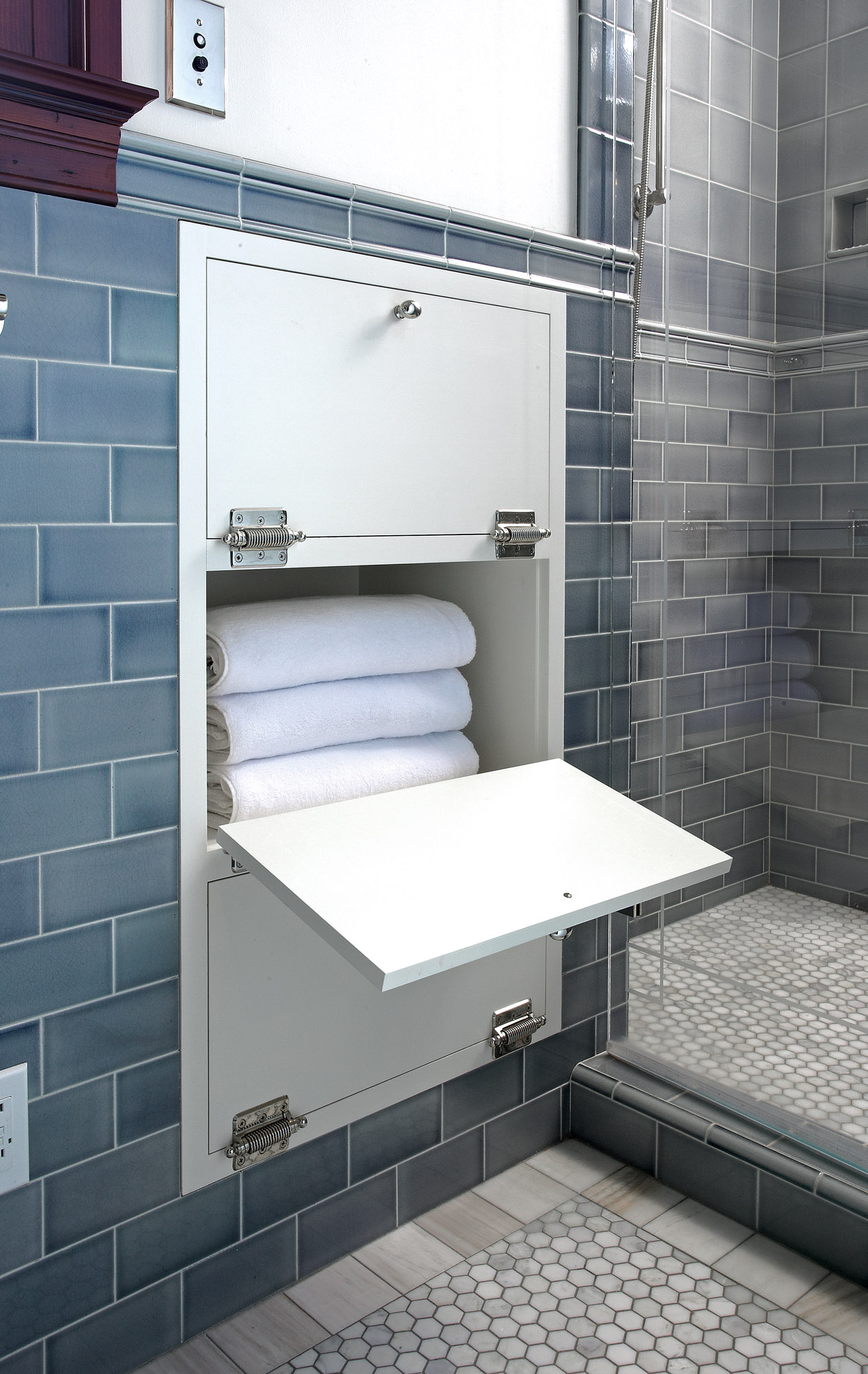 built-in towel nook