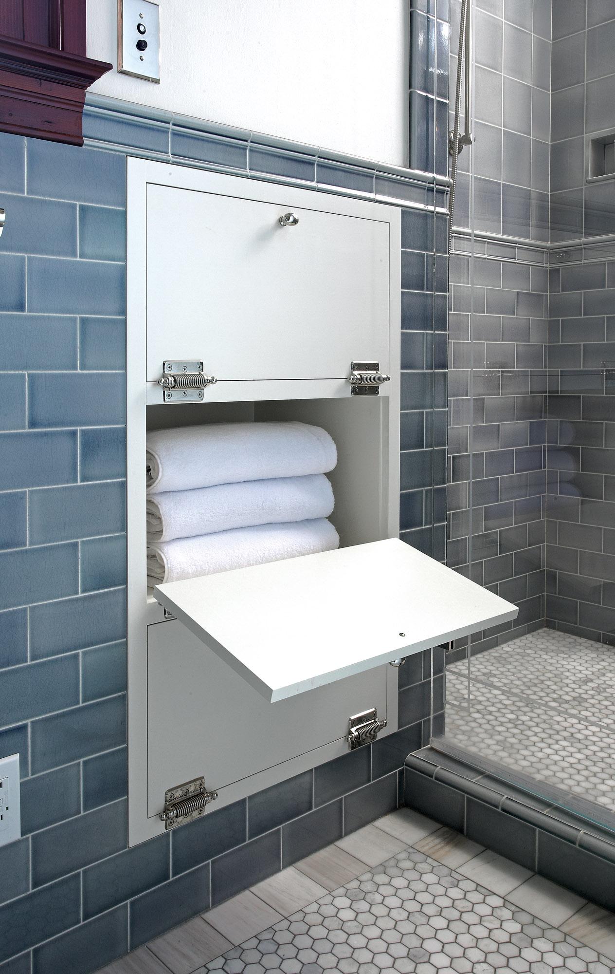 built-in towel nook