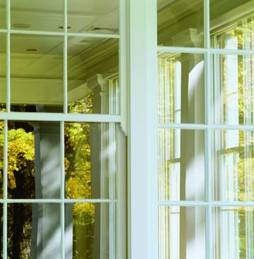 A close-up look at the window detailing of the Colonial Revival addition.
