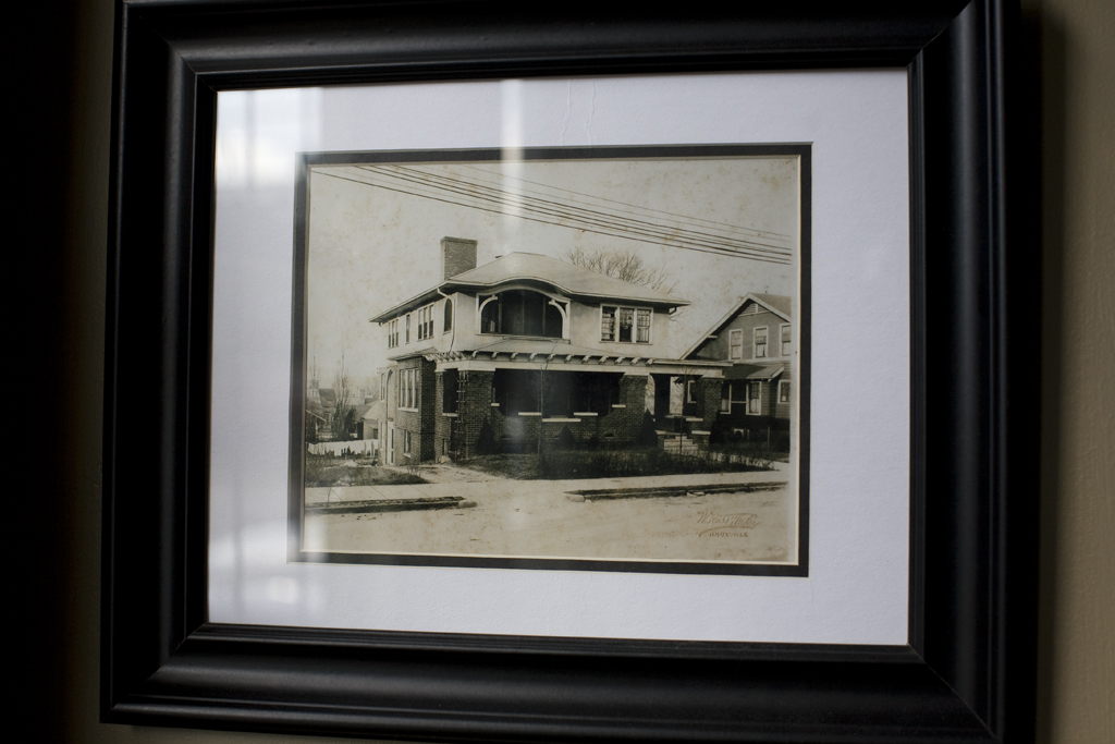 A copy of Billie McKinney's black-and-white photo of the home, which inspired the sleeping porch discovery, now hangs proudly on a wall in the living room.