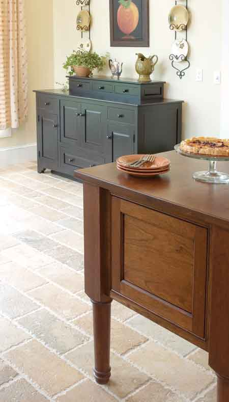 A furniture-quality island gives an unfitted appearance.