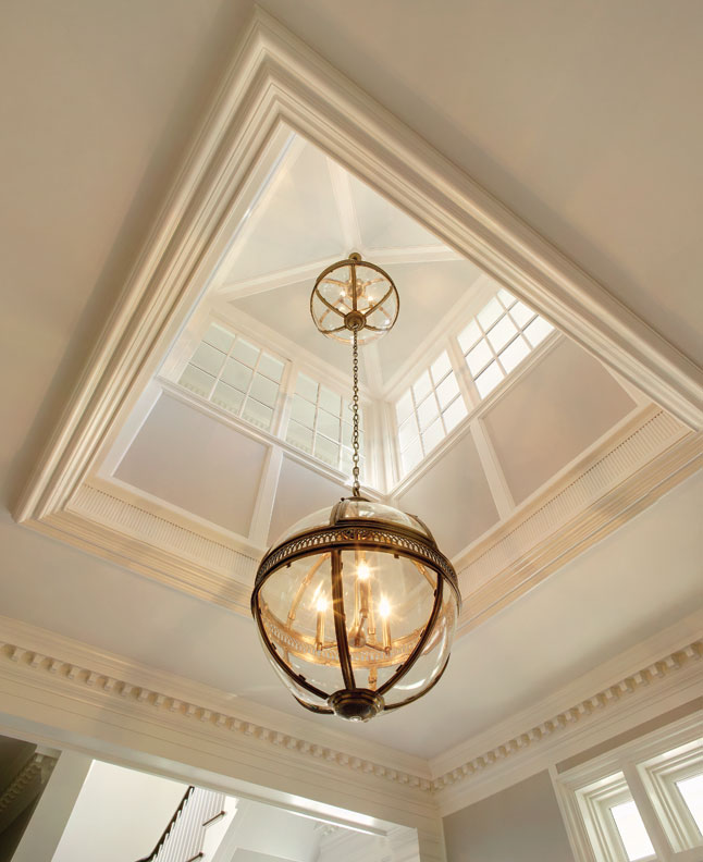 A large clerestory allows light into the foyer on the first level.