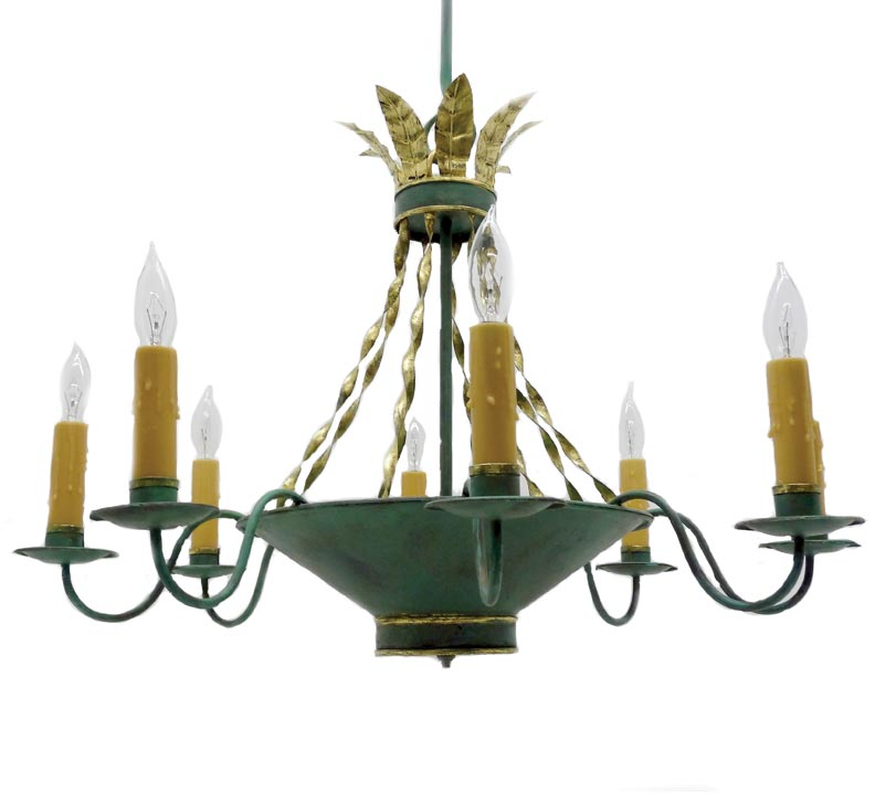 A painted, inverted-bowl chandelier from Scofield Historic Lighting is a copy of a Federal-era original that had crystal on chain instead of gilded straps.
