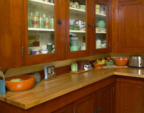 A pantry cabinet within a bungalow kitchen. Photo courtesy of Eric Roth.