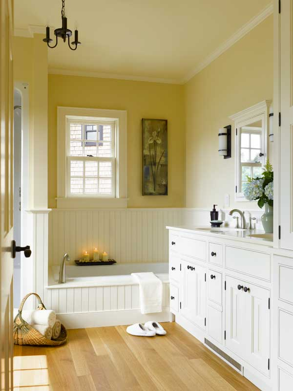 A pretty bathroom in a new-old house designed and built by Connor Homes.