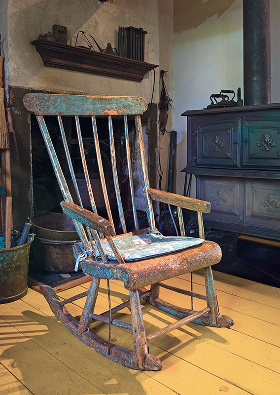 A rocking chair was discovered stored in the attic of the owner's father.