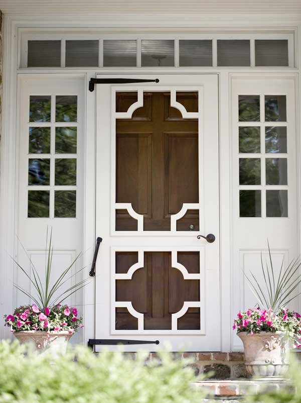 """A screen door from Vixen Hill incorporates a """"Chinese Chippendale"""" motif."""