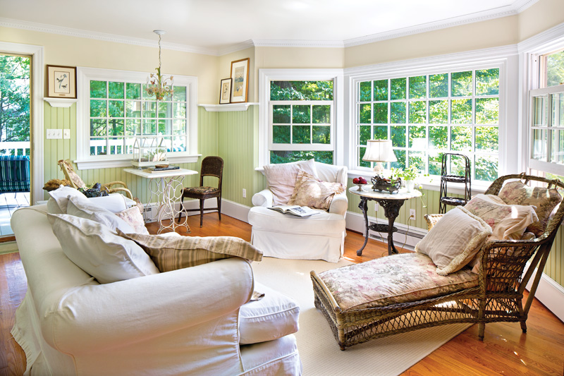 A tall beadboard wainscot adds period-inspired cottage charm.