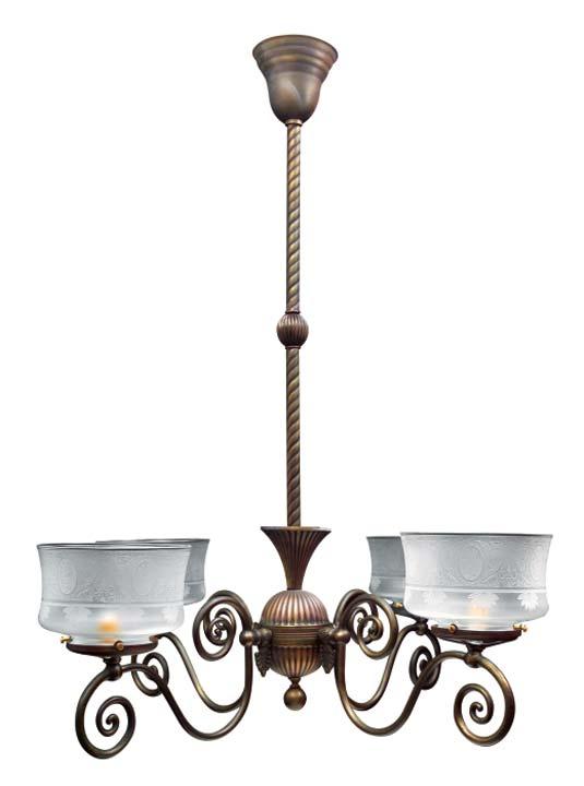 A Victorian-era gas-style chandelier from Renaissance Lighting