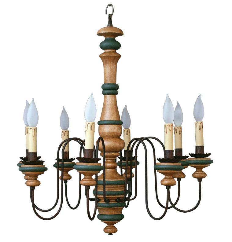 Accented in hunter green, the 'Winchester' from Garber's Crafted Lighting has turned-wood holders.