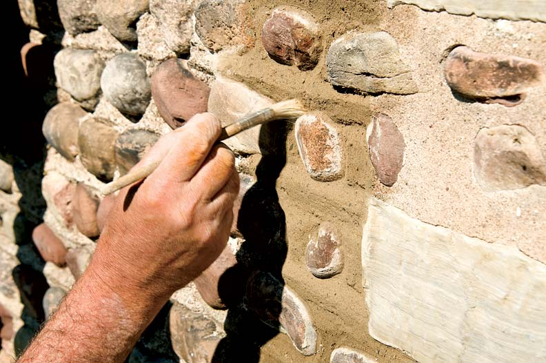 After allowing the mortar to set up slightly, Marty used a soft, dry paintbrush to dress each joint, creating a more organic appearance.