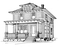 American Foursquare Architecture & Interiors - Old House ... on colonial house design, american victorian house design, ranch house design, mediterranean house design, craftsman house design, mid-century modern house design, bungalow house design, gothic revival house design, prairie house design, art deco house design, saltbox house design, arts and crafts house design, adobe house design, georgian house design, cape cod house design, french revival house design, cottage house design, queen anne victorian house design,