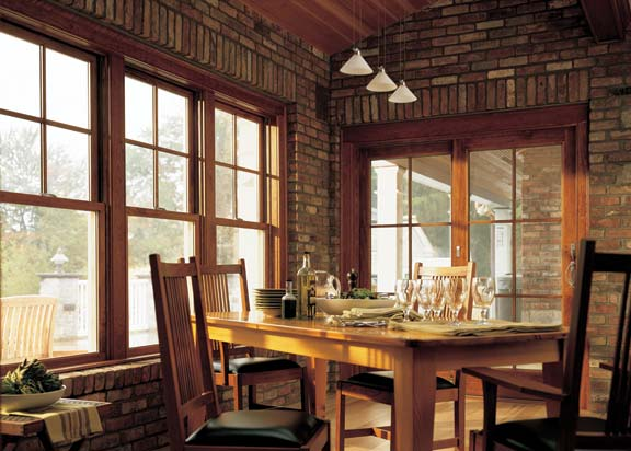 With top-heavy windows, muntins didn't have to be elaborate, as the simple 4/1 pattern of these modern windows shows.