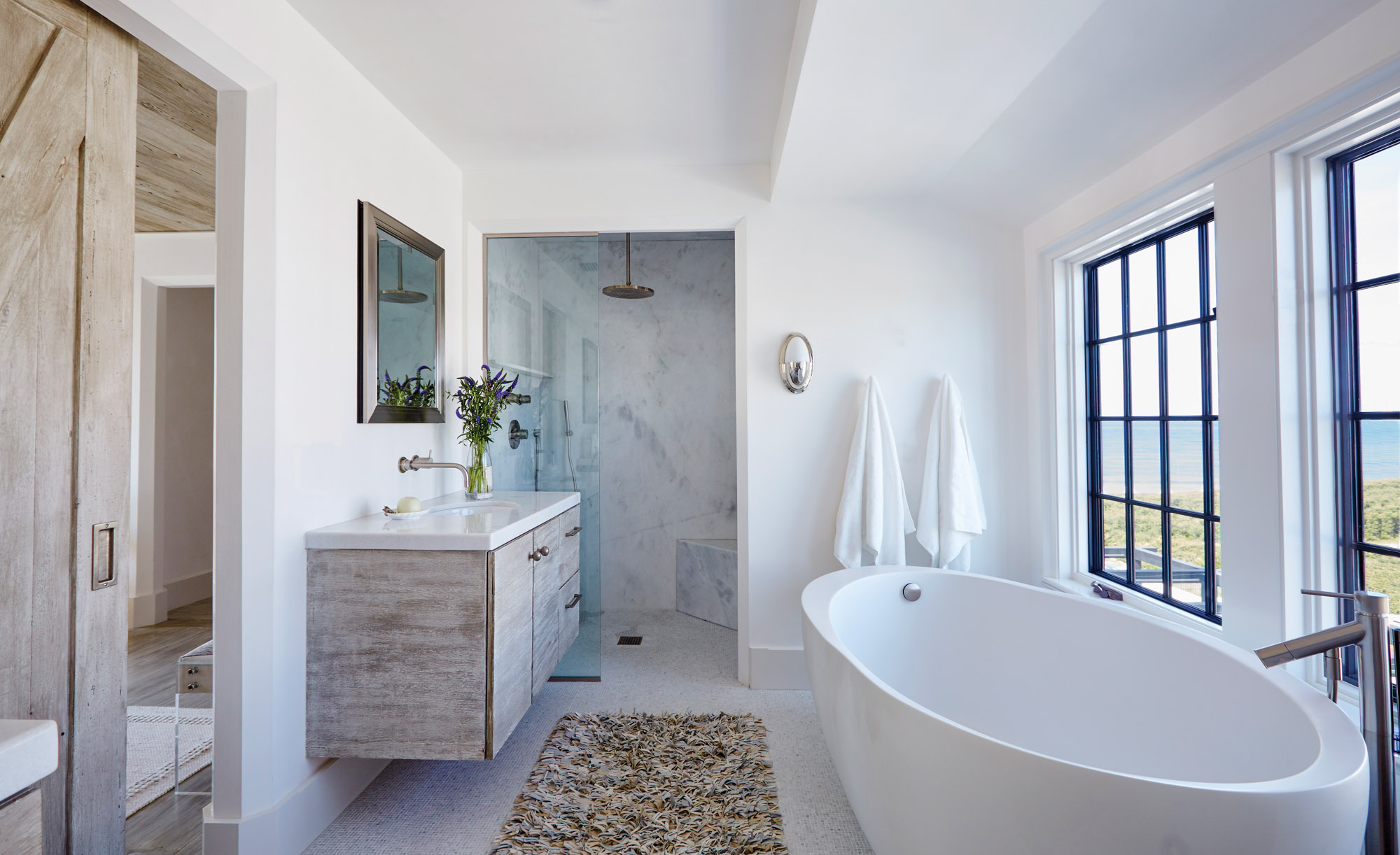 white-marble shower