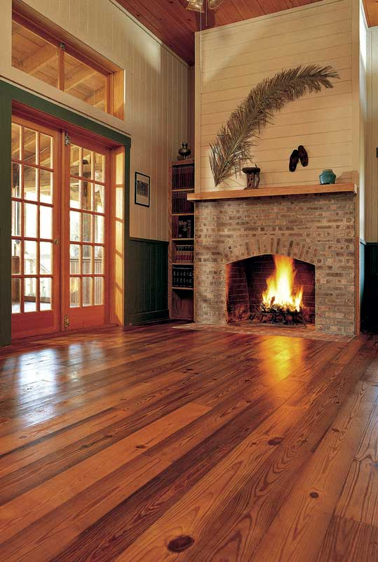 Antique heart-pine flooring from old-growth trees reclaimed from rivers, milled by Goodwin Heart Pine.