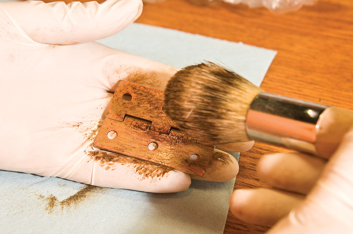Apply oil-based glaze to the roughened surface.