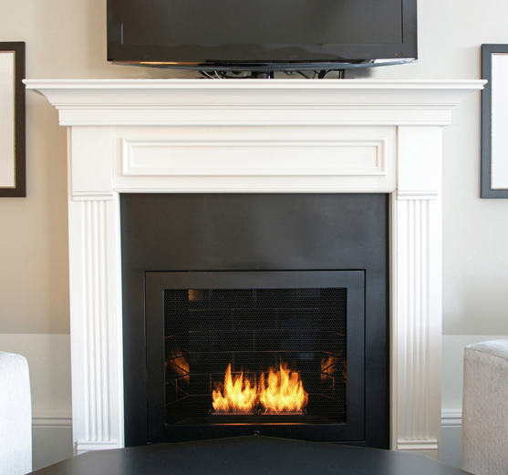 Approved for use in New York City apartments, Hearth Cabinet's ventless designs use alcohol cartridges.