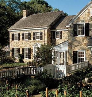 Architect Peter Zimmerman created a series of additions that blend with the original eighteenth-century stone structure.