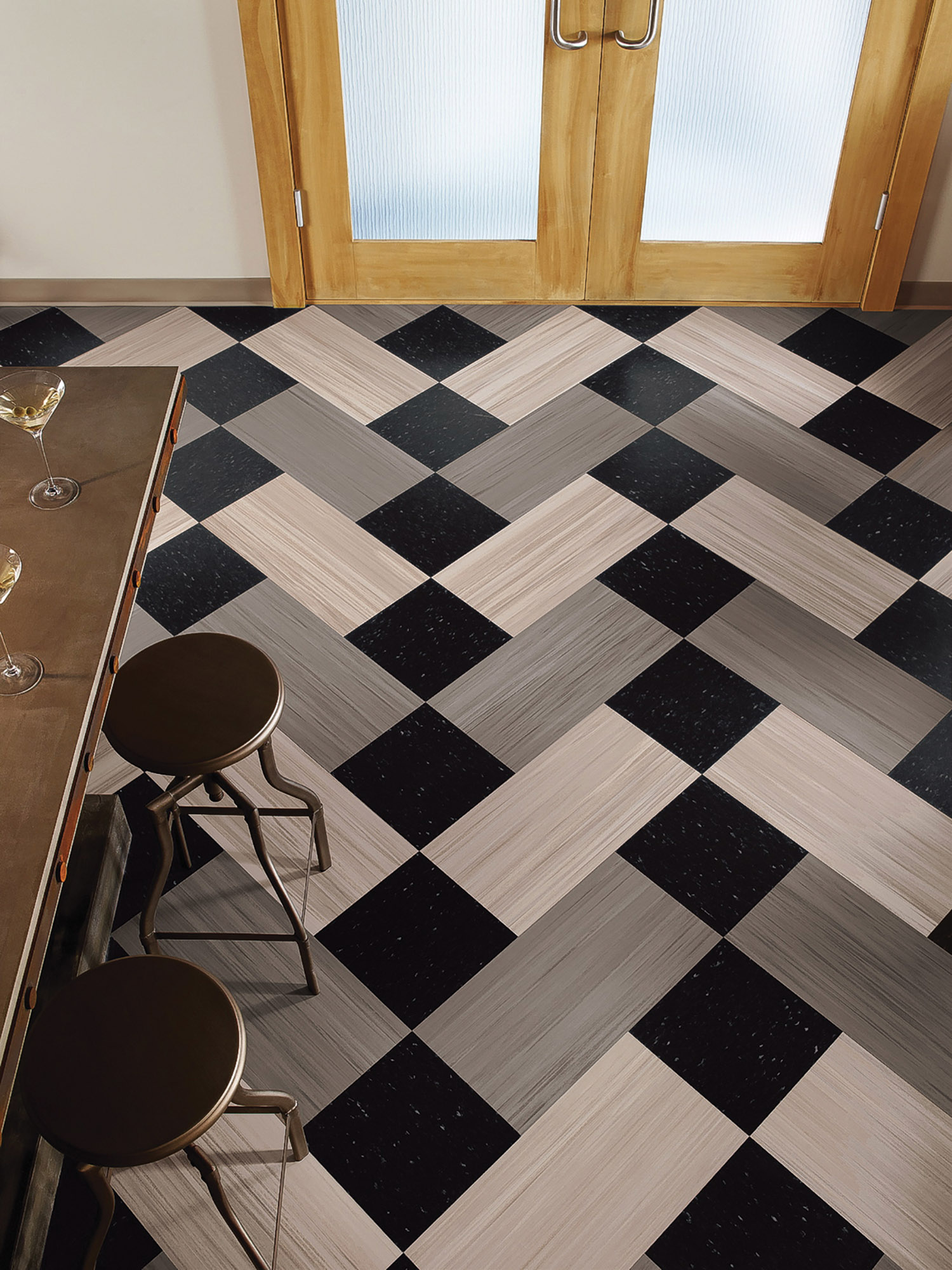 Armstrong Striations bio-based tile is similar in composition to their vinyl composite tile—without PVC