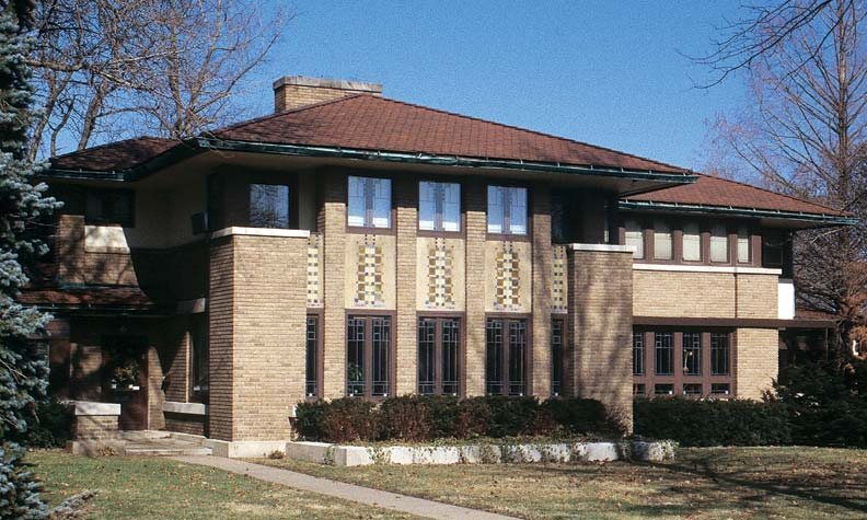 Architect Marion Mahony complemented her design of the Robert Mueller House (1910) in Decatur, Illinois, with a mosaic of glass and tile elements.