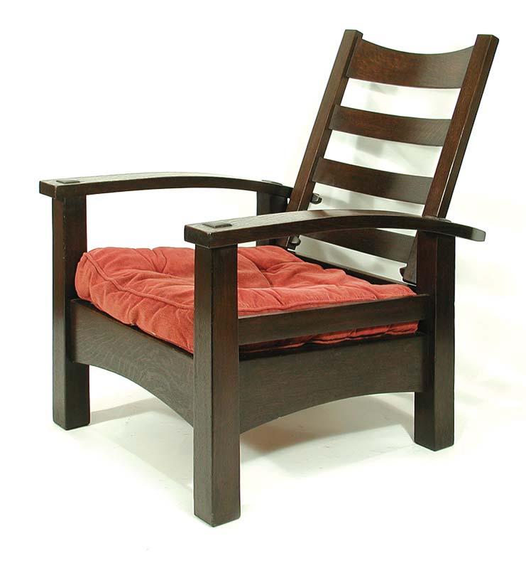 Rare Stickley bow-arm Morris chair