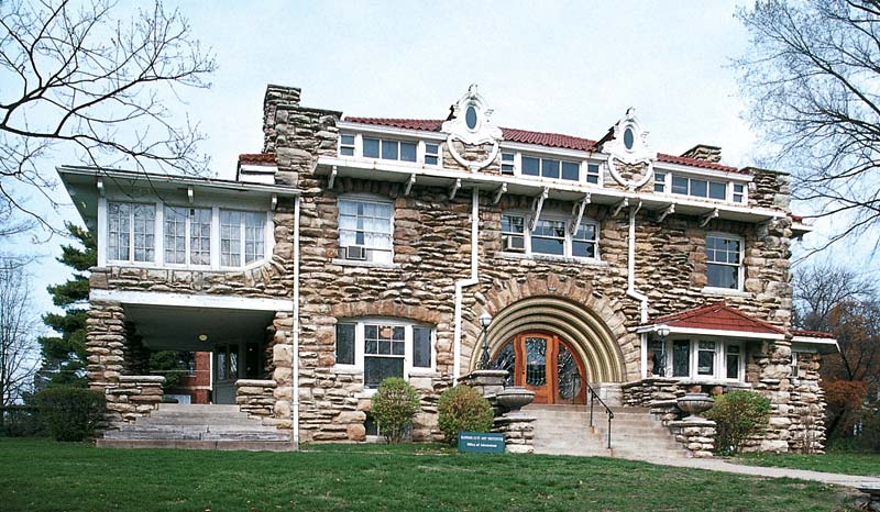 In Kansas City, Missouri, Mineral Hall (built in 1913 by Louis Curtiss), with its ornamented, arched entrance, is probably the best American example of Art Nouveau architectural features, rarely seen in this country.