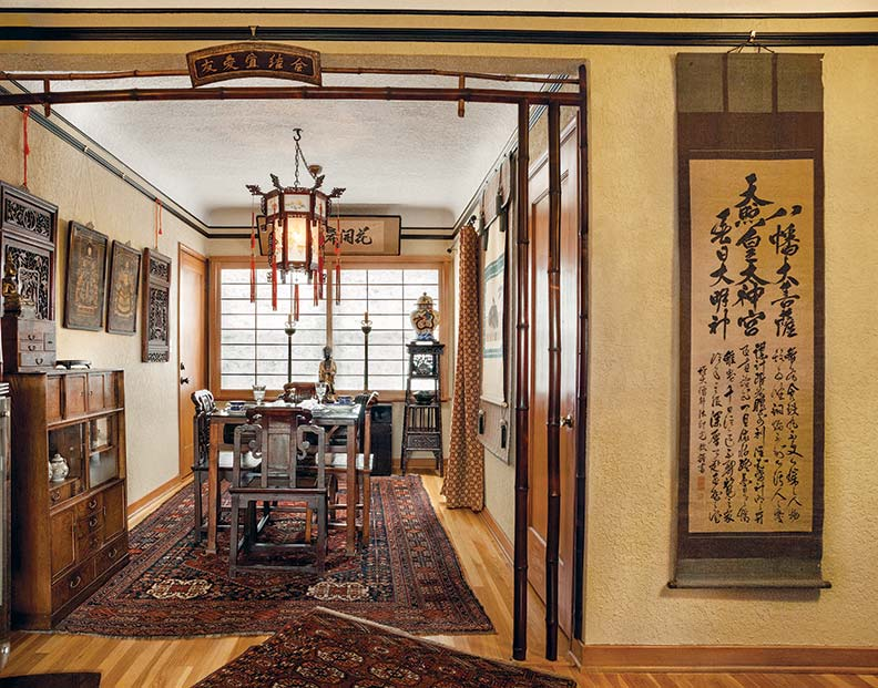Custom shoji screens widen the dining room