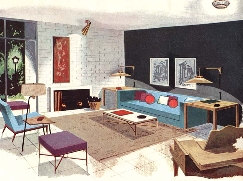 This ultra-hip living room featured in a 1954 Lightolier catalog has adjustable, wall-mounted sofa lamps reminiscent of flying saucers, a fiberglass-shaded floor lamp/side table combo, and a spun-aluminum torchière hanging from the ceiling.