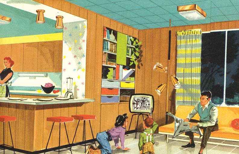 The ubiquitous pole lamp, which stretched from floor to ceiling and had adjustable-to-any-angle lamps, can be seen in this endearing 1950s family scene typical of lighting catalogs of the era.