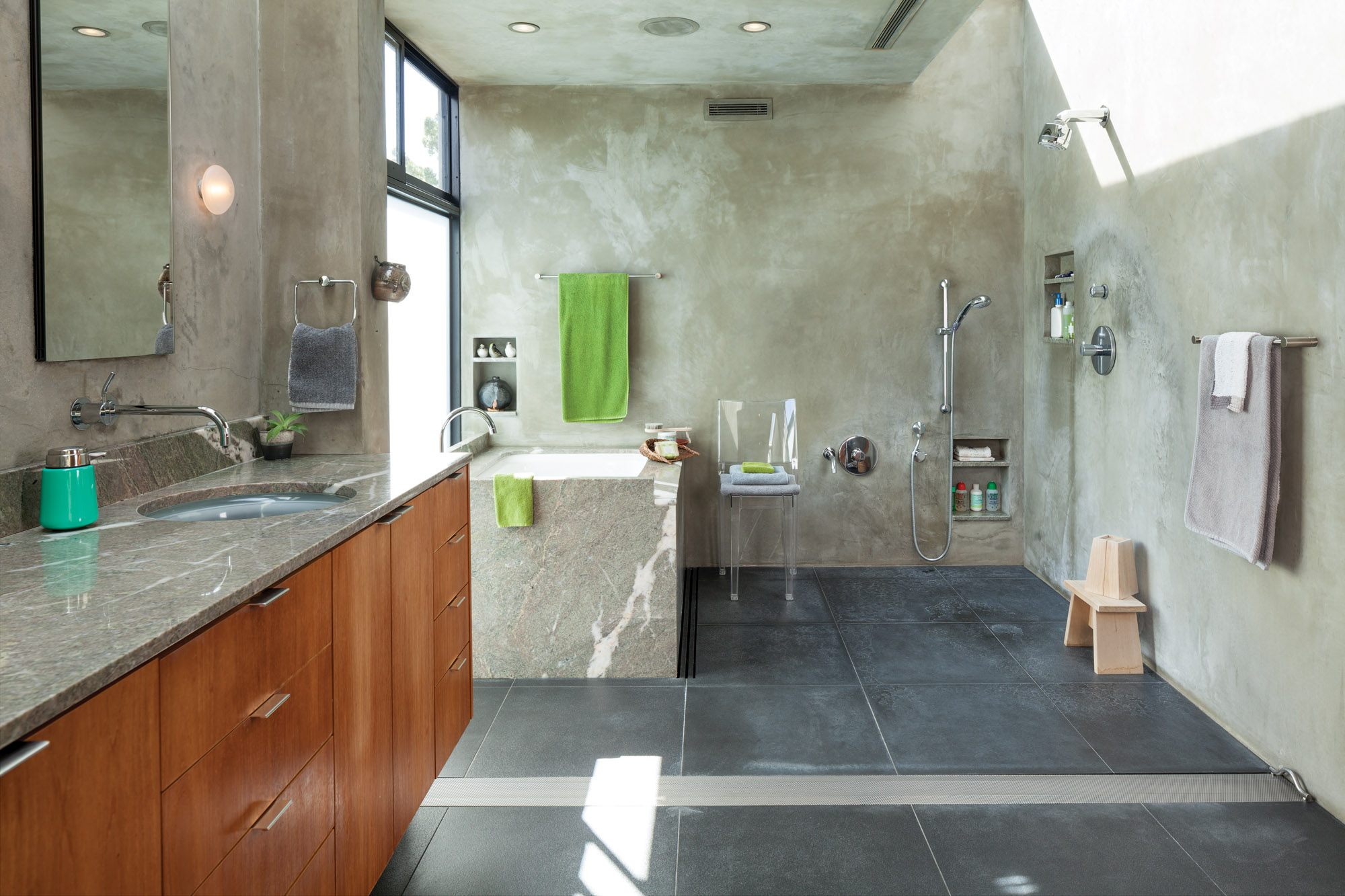 mid-century modern bathroom, concrete bathroom