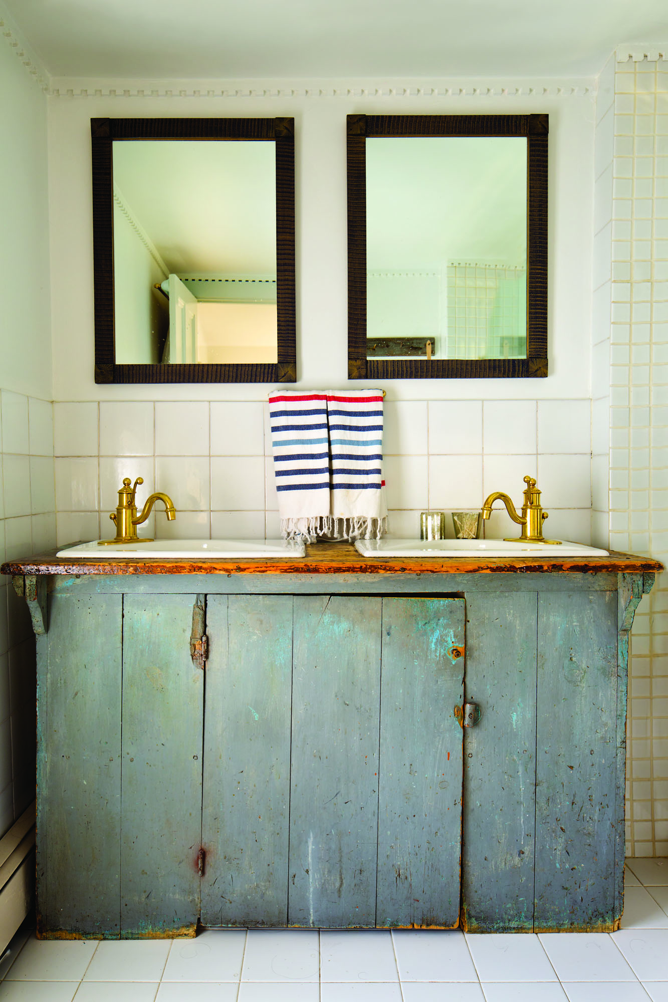 An old dry sink became a bathroom vanity.