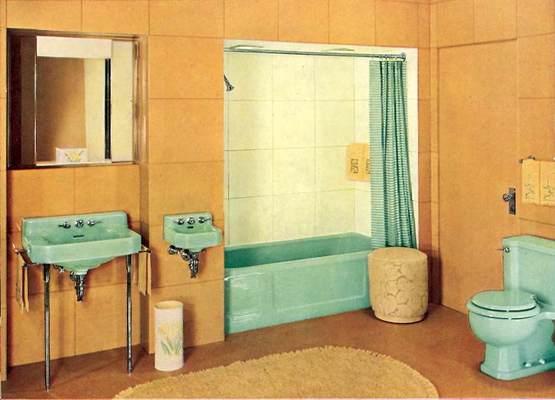 This inviting bathroom suite, featuring tan vitrolite walls and colorful Spring Green fixtures—including a separate, petite dental sink—appeared in a 1939 Kohler brochure.