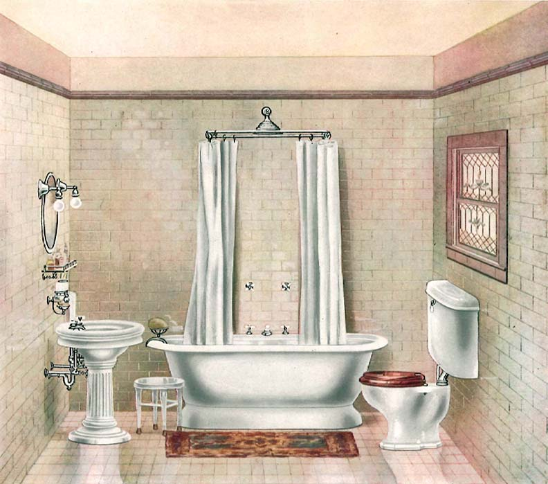 Roman tubs with nearly vertical, sloping round ends were thought to look more balanced and elegant in bathrooms, and usually came with faucets mounted on a long side.