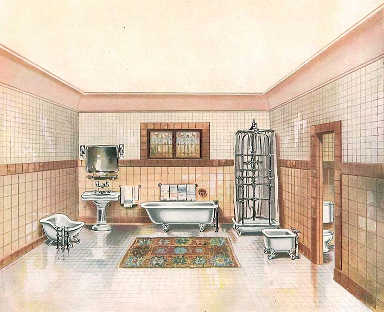 Fancy, upscale lavatories could include both a sitz (at left) and foot bath (at right) to complement the bathtub and state-of-the-art ribcage shower, per a 1912 Standard Sanitary catalog.