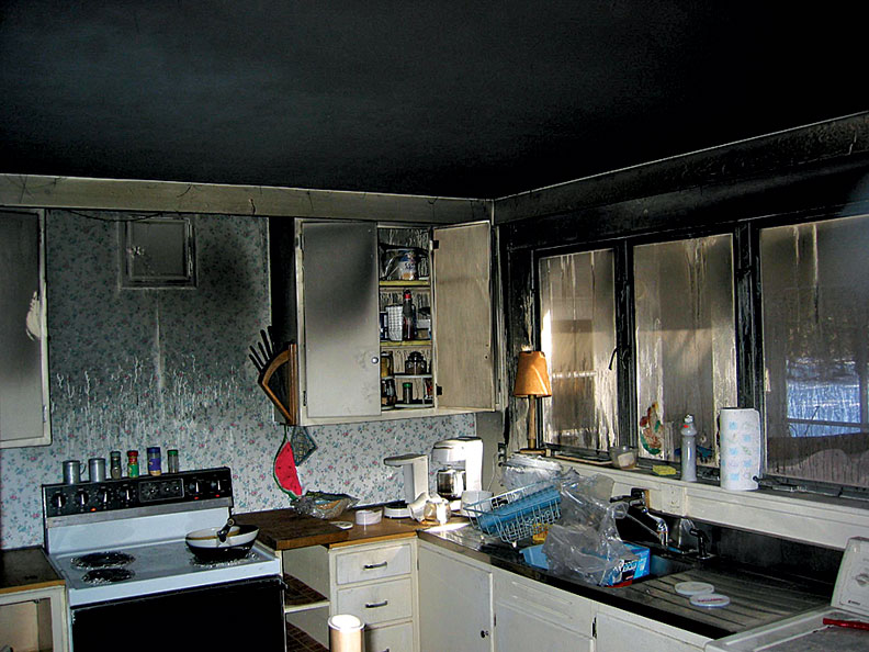 The kitchen wasn't touched by the flames, but smoke damage was extensive.