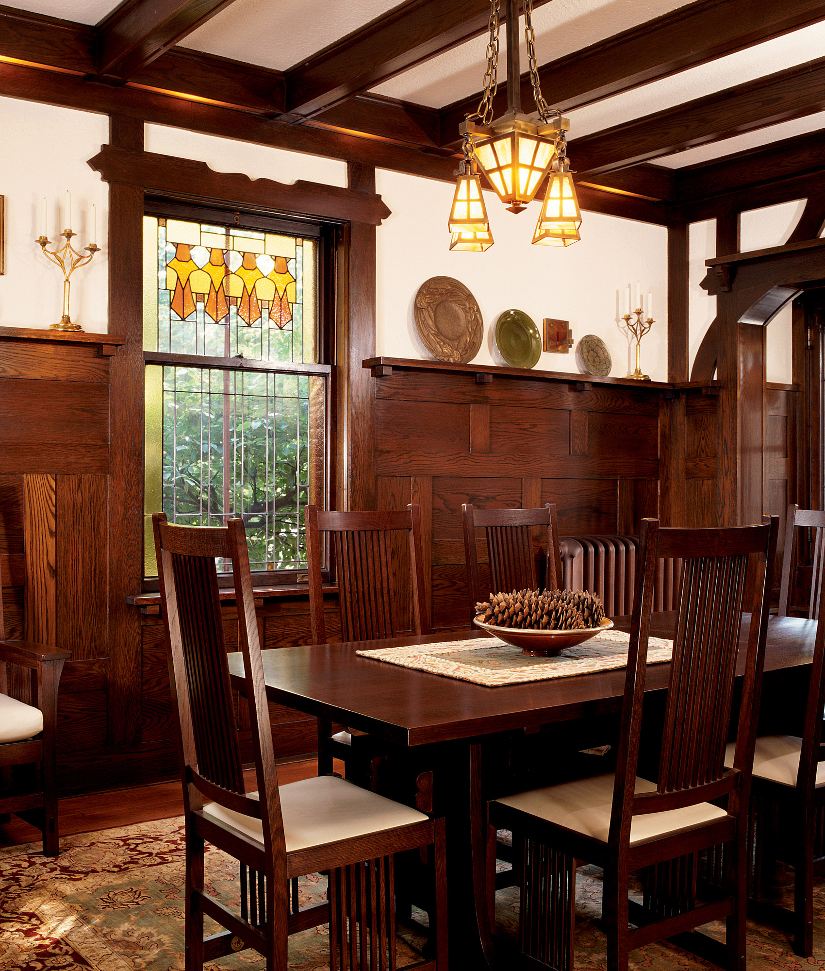 beams and wainscot