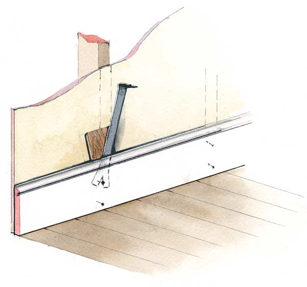 Because moldings are nailed to studs, you'll have a solid surface to pry against. (Illustration: Rob Leanna)