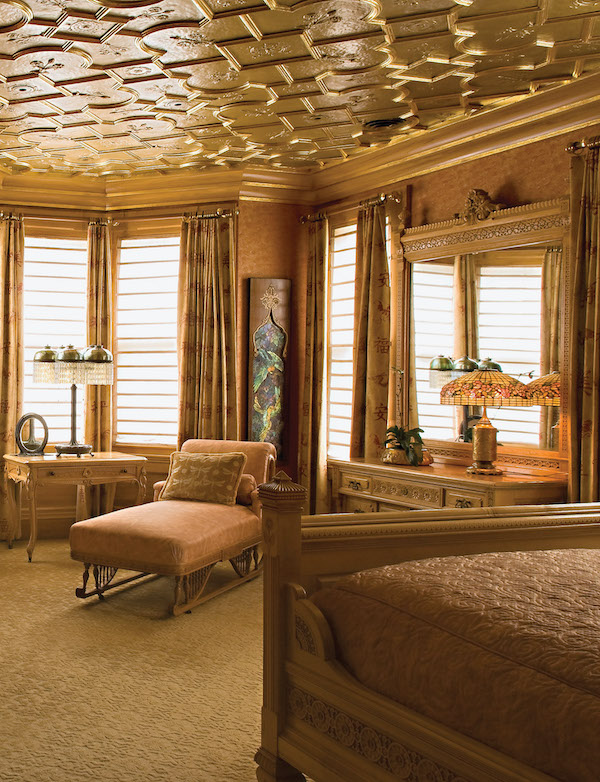 tin ceiling bedroom
