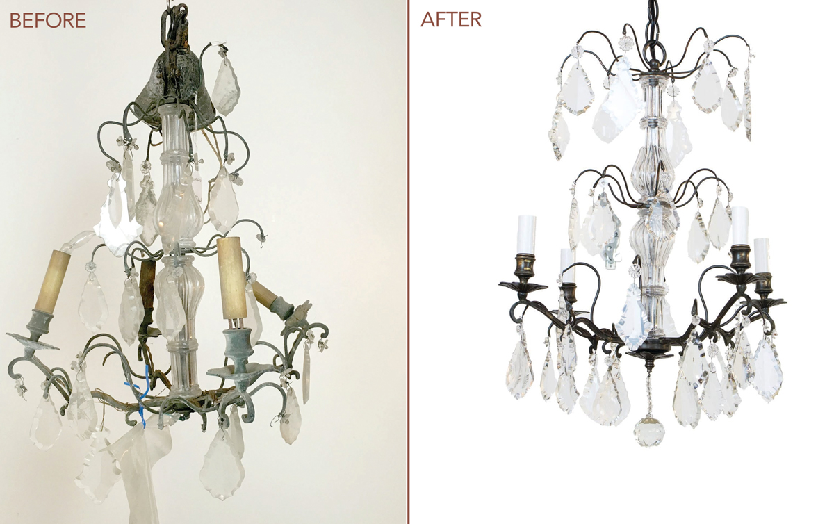 before and after cleaning antique lighting