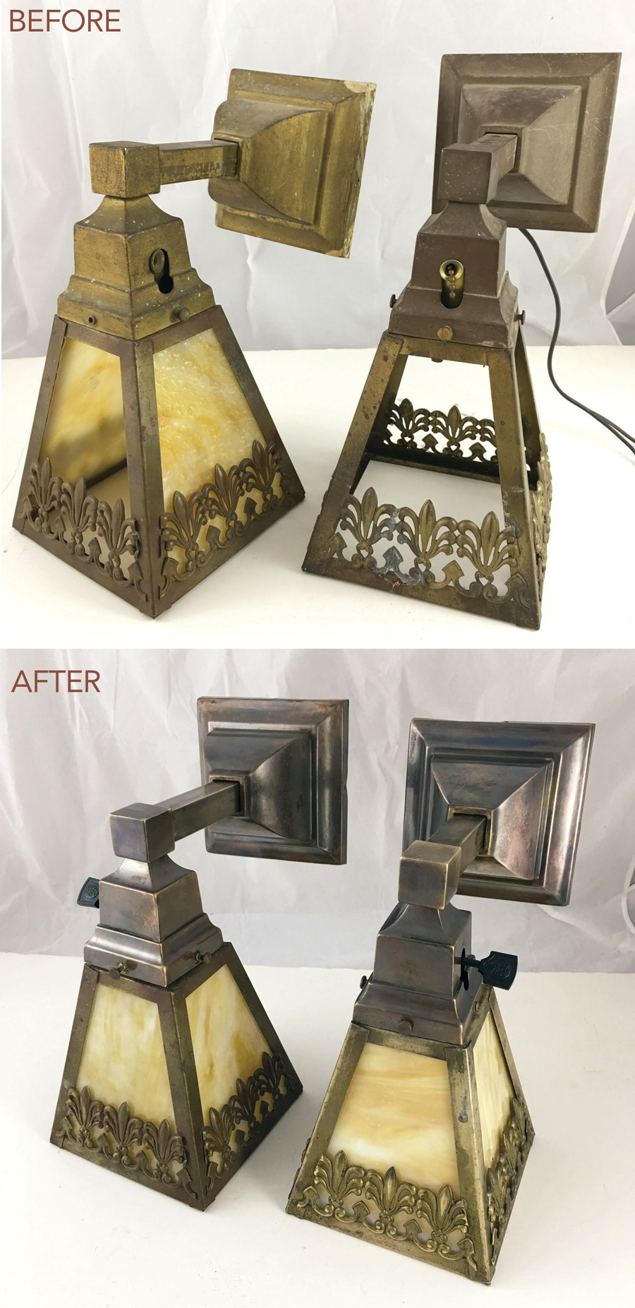 restoring antique lighting-before and after