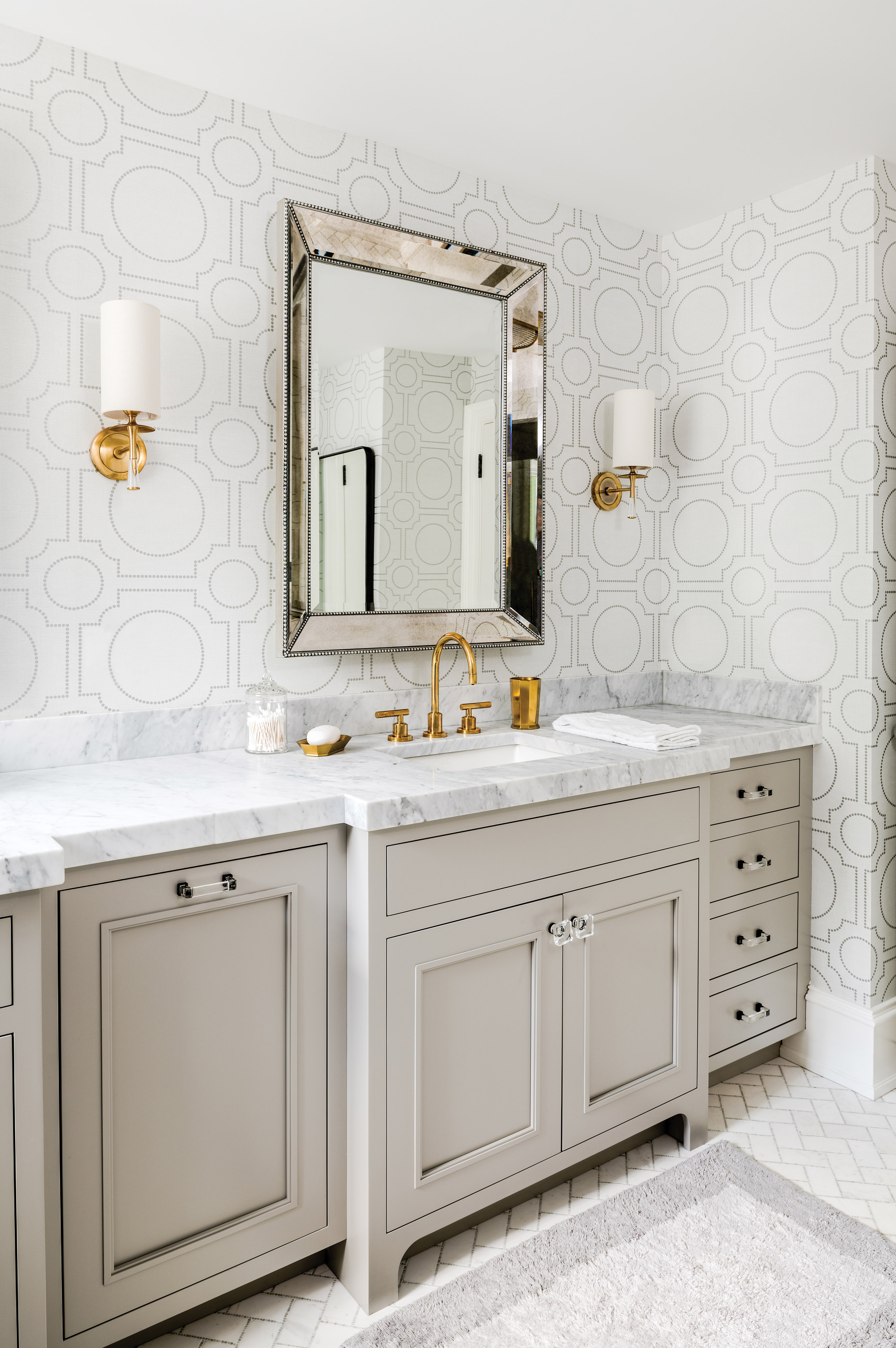 master bath with matching vanities