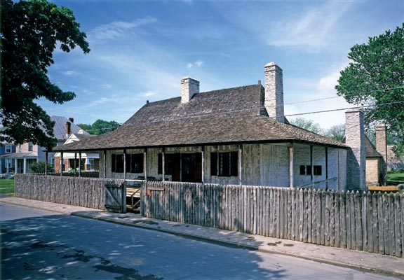 Accurately restored, the 1770-1785 Bolduc House, with its classic double-pitched roof, is the prime French museum house in Ste. Genevieve, Missouri.