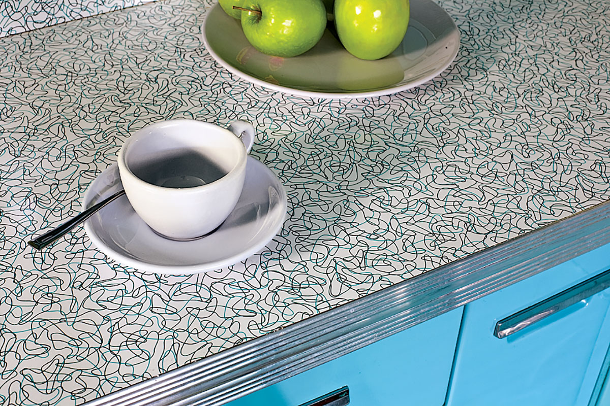 Laminates like the retro Boomerang pattern are easy care and still available from several manufacturers.