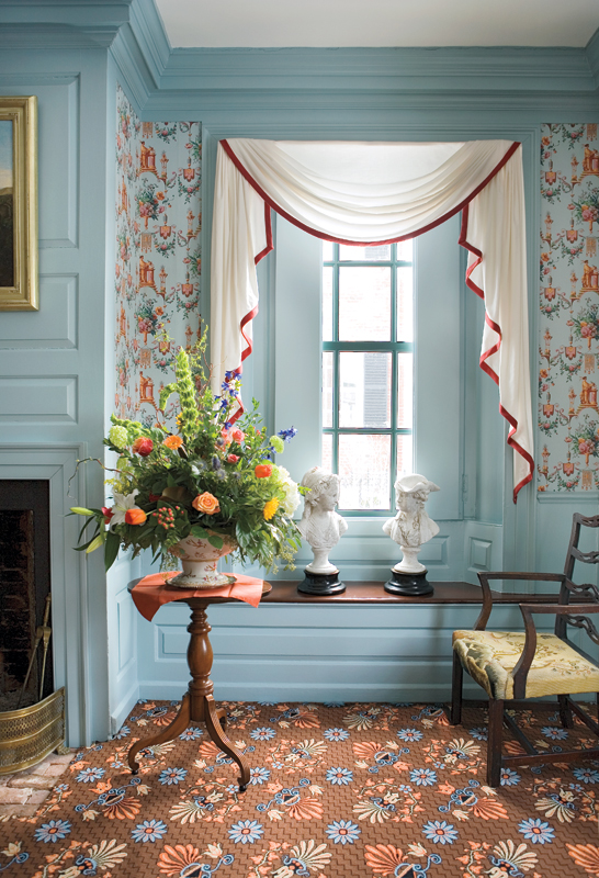 Both the best and everyday parlors were hung—originally and again now—with the same wallpaper, but with different paint colors on trim.
