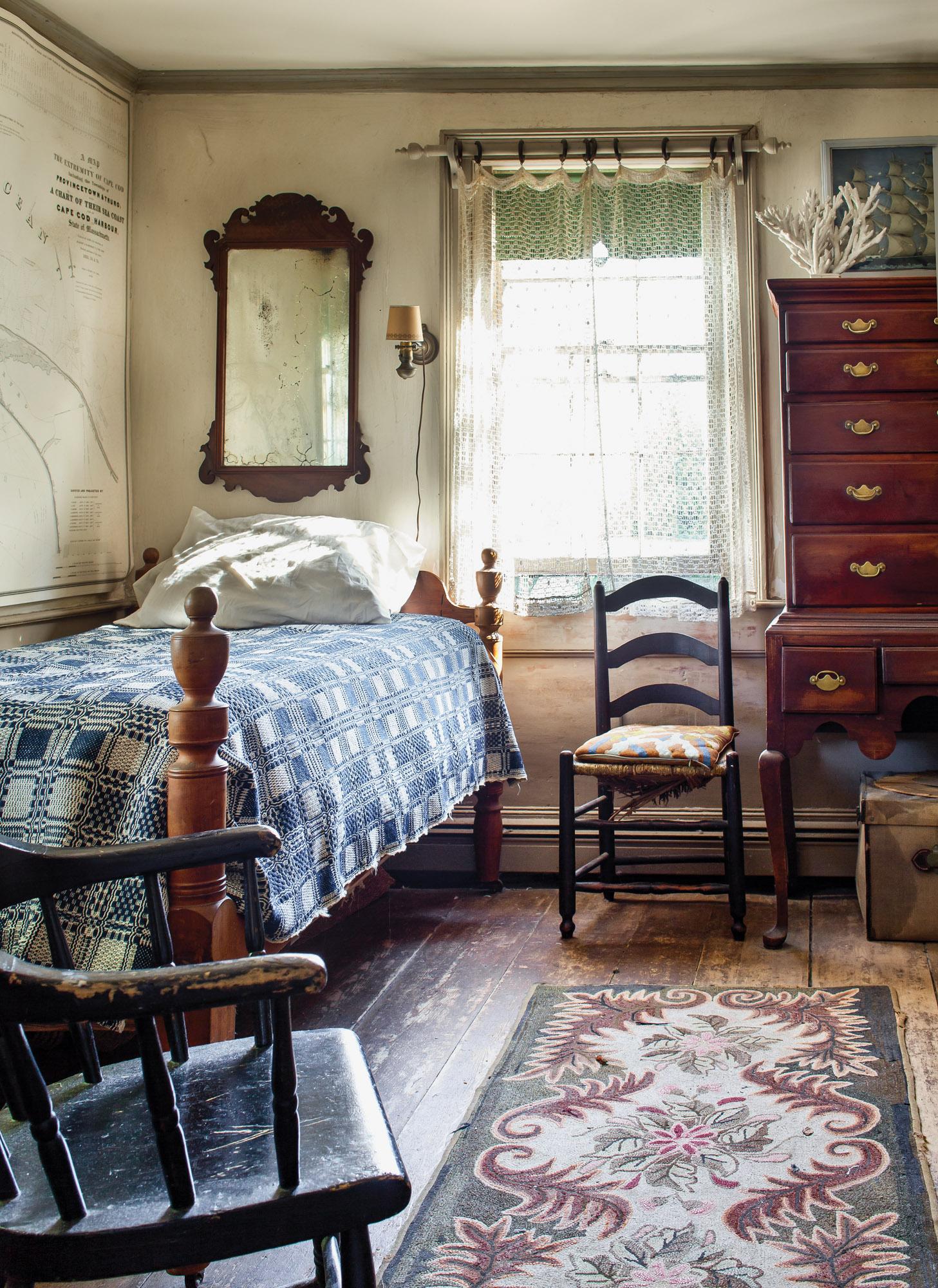 hooked rug, homespun coverlet