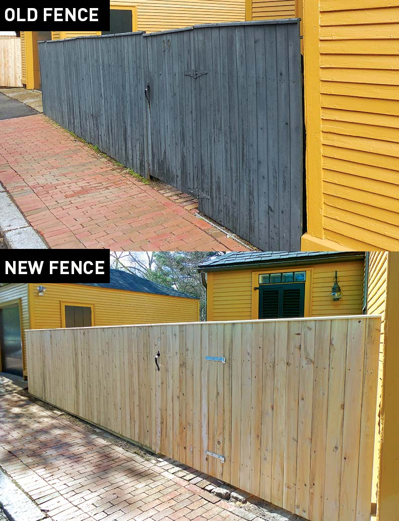 Old fence and new historic fence