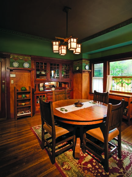 Arts & Crafts dining room with built-in buffet