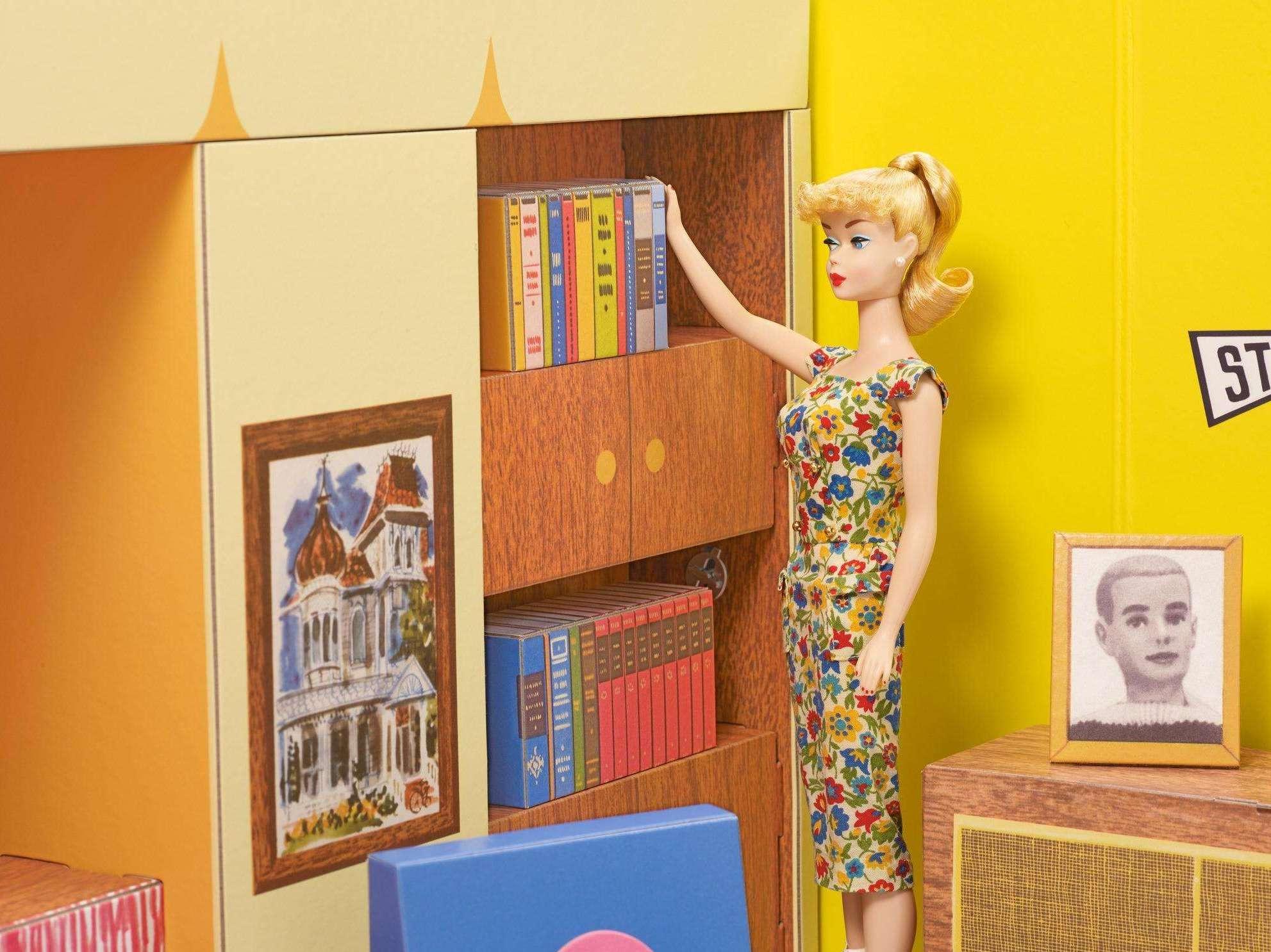 Barbie inside Mid-century Modern ranch