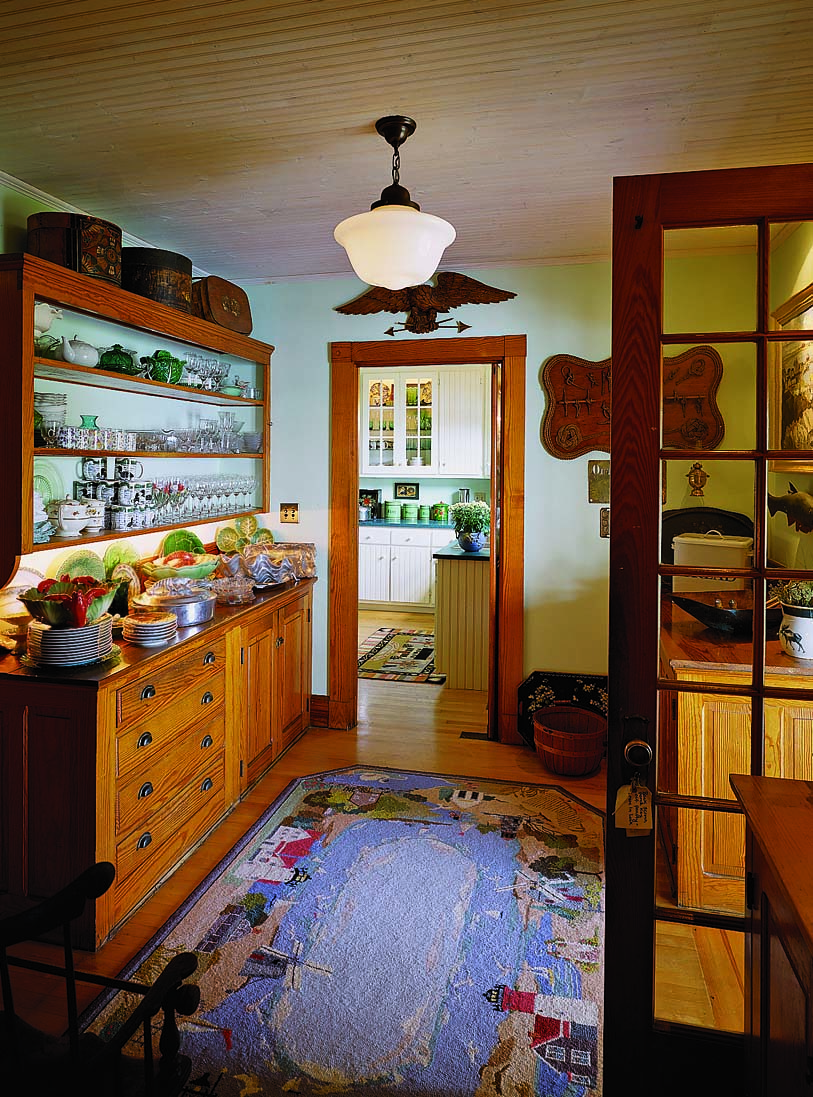 Pantry dressers for storing cooking utensils, china, and sundries always appeared outside the kitchen, usually in houses staffed with servants.