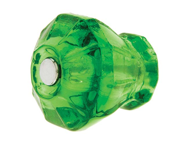 A set of emerald glass knobs would add color and style to a prewar kitchen; this one's from House of Antique Hardware.